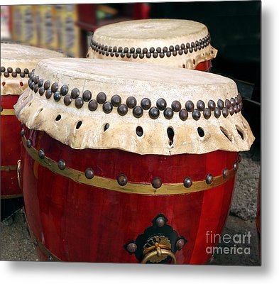 Large Chinese Drums Metal Print by Yali Shi