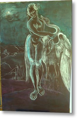 Leda And The Swan Metal Print by Michele D B