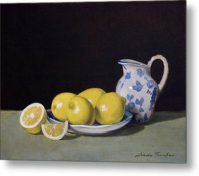Lemon Cream Metal Print by Linda Tenukas