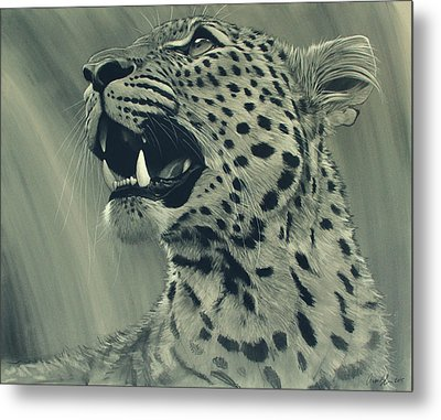 Metal Print featuring the digital art Leopard Portrait by Aaron Blaise