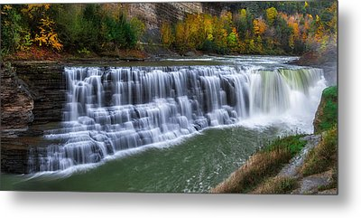 Metal Print featuring the photograph Letchworth Lower Falls by Mark Papke