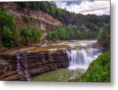 Metal Print featuring the photograph Letchworth State Park Lower Falls by Mark Papke