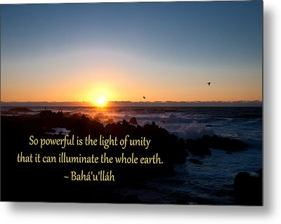 Light Of Unity Metal Print by Baha'i Writings As Art