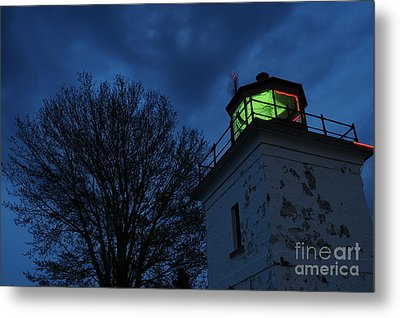 Lighthouse At Night Metal Print by Joe  Ng
