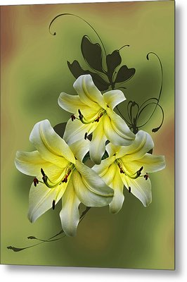 Lily Trio Metal Print by Judy Johnson