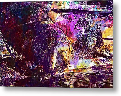 Metal Print featuring the digital art Lion Cat Zoo Male Big Cat Africa  by PixBreak Art