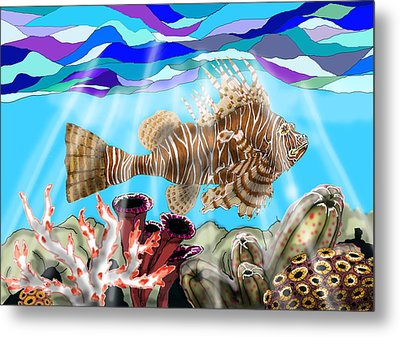 Lion Fish Metal Print by Mike Moss