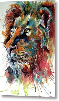 Metal Print featuring the painting Lion by Kovacs Anna Brigitta