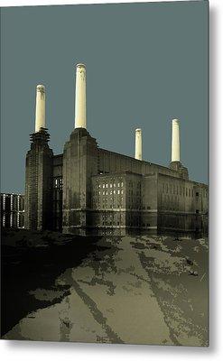 London - Battersea Power Station - Soft Blue Greys  Metal Print by Big Fat Arts