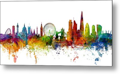 London England Skyline Panoramic Metal Print by Michael Tompsett