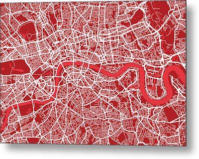 London Map Art Red Metal Print