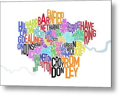 London Uk Text Map Metal Print by Michael Tompsett