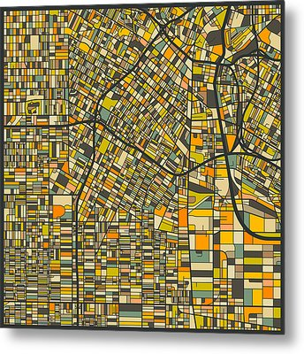 Los Angeles Map Metal Print by Jazzberry Blue
