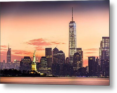 Lower Manhattan And The Statue Of Liberty At Sunrise Metal Print