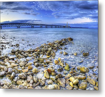 Mackinac Bridge From The Beach Metal Print