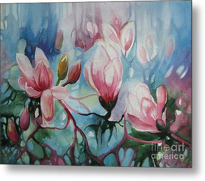 Metal Print featuring the painting Magnolia by Elena Oleniuc