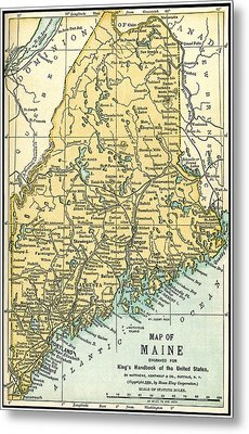 Maine Antique Map 1891 Metal Print by Phil Cardamone