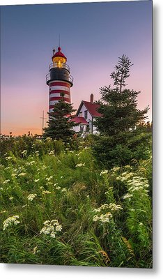 Maine West Quoddy Head Light At Sunset Metal Print