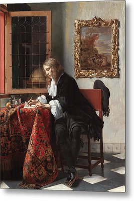 Man Writing A Letter Metal Print by Gabriel Metsu