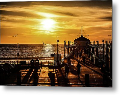Metal Print featuring the photograph Pier Of Gold by April Reppucci