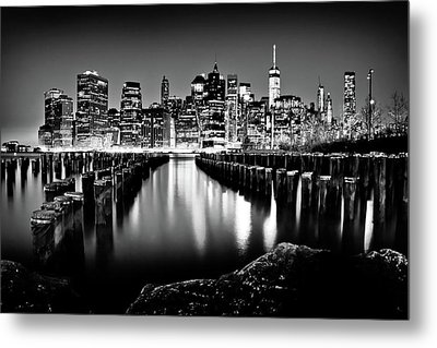Manhattan Skyline At Night Metal Print by Az Jackson