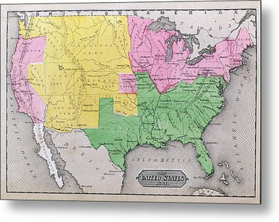 Map Of The United States Metal Print by John Warner Barber and Henry Hare