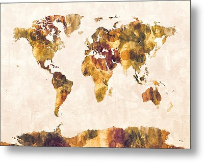 Map Of The World Map Watercolor Painting Metal Print