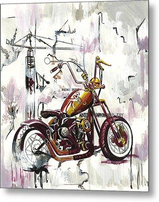 Mapped Motorcycle Metal Print by Lauren Penha