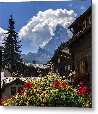 Matterhorn And Zermatt Village Houses, Switzerland Metal Print