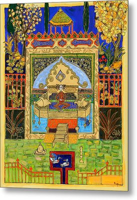 Meditating Master In Courtyard With Ducks Metal Print by Maggis Art