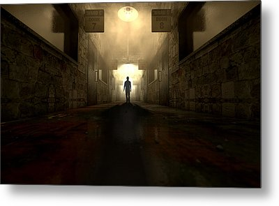 Mental Asylum With Ghostly Figure Metal Print