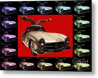 Mercedes 300sl Gullwing . Front Angle Artwork Metal Print by Wingsdomain Art and Photography