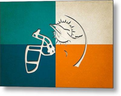 Miami Dolphins Helmet Metal Print by Joe Hamilton
