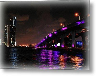 Miami Skyline At Night 2 Metal Print by Amanda Vouglas