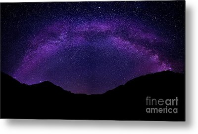 Metal Print featuring the photograph milky way above the Alps by Hannes Cmarits