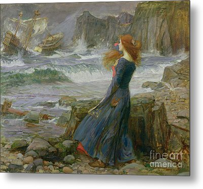 Miranda Metal Print by John William Waterhouse