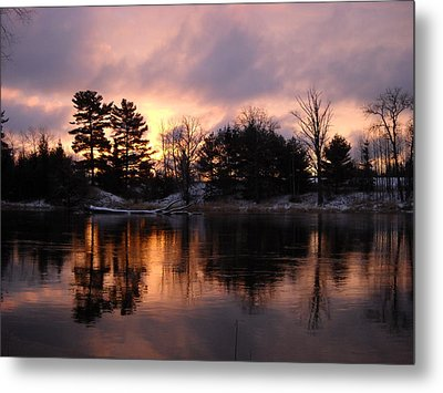 Mississippi River Dawn Light Metal Print