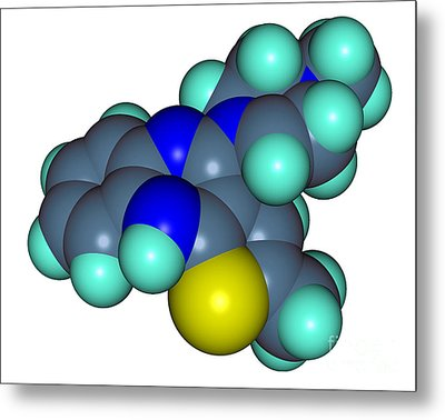 Molecular Model Of Olanzapine Metal Print by Scimat