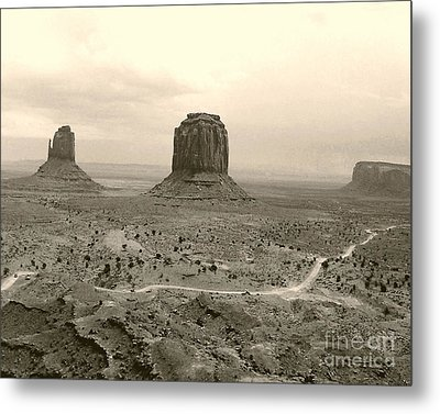 Metal Print featuring the photograph Monument Valley Panorama At Dusk by Merton Allen