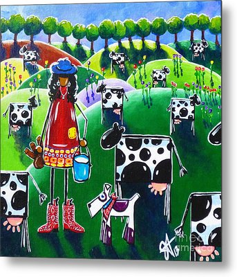 Moo Cow Farm Metal Print by Jackie Carpenter
