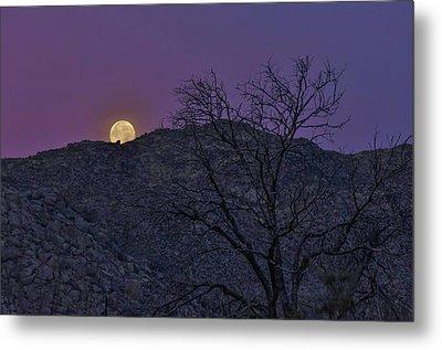 Moon Set At Sunrise Metal Print