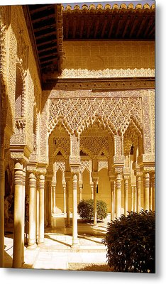 Moorish Architecture In The Nasrid Palaces At The Alhambra Granada Metal Print by Mal Bray