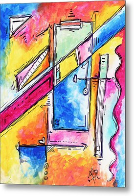 Morning Journey Original Abstract Pop Art Style Colorful Abstract Painting Metal Print