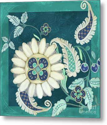 Metal Print featuring the painting Moroccan Paisley Peacock Blue 1 by Audrey Jeanne Roberts