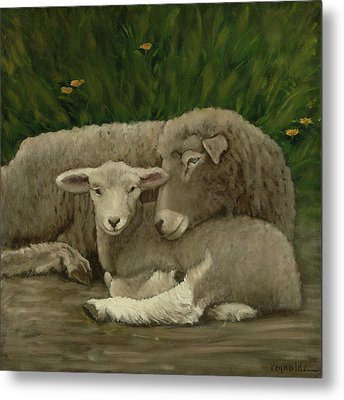 Mother And Lamb Metal Print by John Reynolds