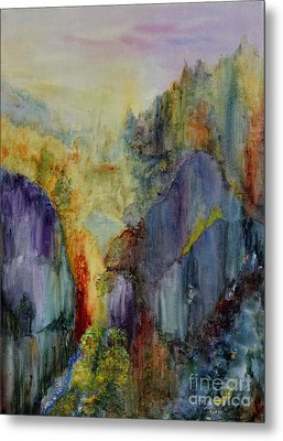 Metal Print featuring the painting Mountain Scene by Karen Fleschler