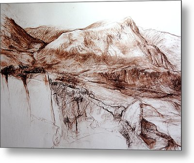 Metal Print featuring the drawing Mountains In Snowdonia by Harry Robertson