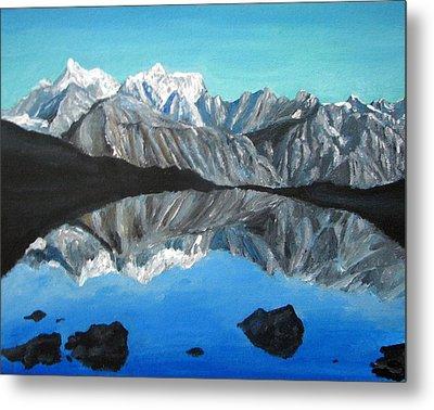 Mountains Landscape Acrylic Painting Metal Print by Natalja Picugina