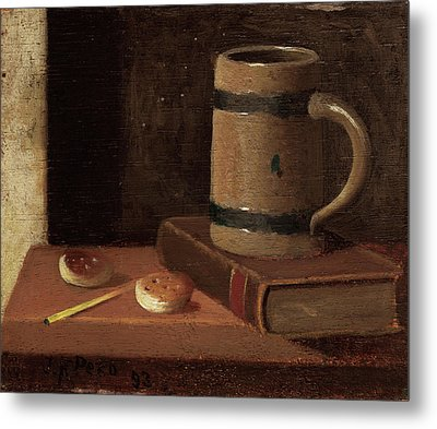 Mug, Book, Biscuits, And Match Metal Print by John Frederick Peto