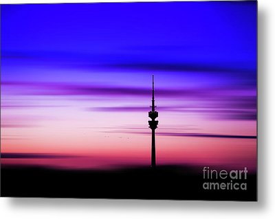 Metal Print featuring the photograph Munich - Olympiaturm At Sunset by Hannes Cmarits